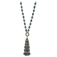 Francoise Montague Blue Swarovski Crystal Tassel Necklace