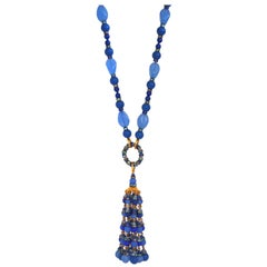 Francoise Montague Blue Tassel Necklace