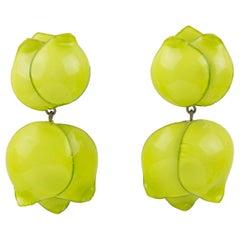 Francoise Montague by Cilea Clip Earrings Apple Green Flower