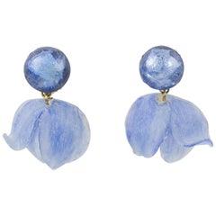 Francoise Montague by Cilea Clip Earrings Lavender Blue Flower