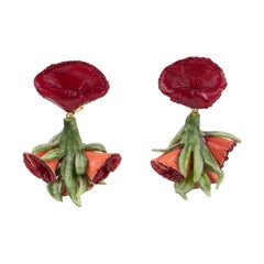 Francoise Montague by Cilea Clip Earrings Red and Green Resin Flowers