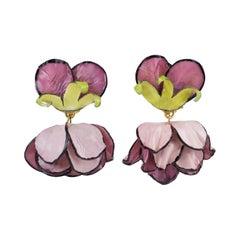 Francoise Montague by Cilea Dangle Resin Clip Earrings Purple-Pink Poppy Flower