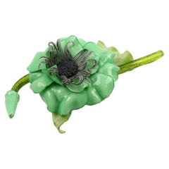 Francoise Montague by Cilea Green Flower Pin Brooch
