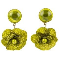 Francoise Montague by Cilea Resin Clip Earrings Green Poppy Flower