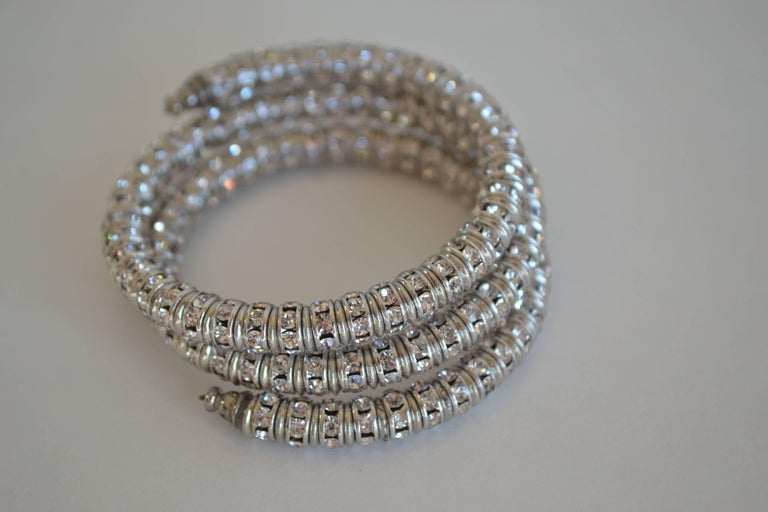 Memory wire wrap bracelet with clear Swarovski crystal rondelles from Francoise Montague. Fits most wrists both large and small and is easy to take on and off.