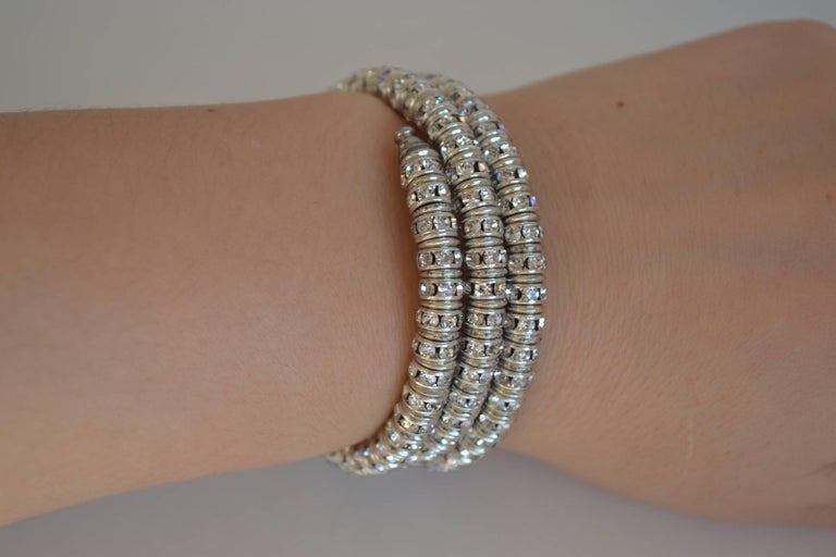 Francoise Montague Clear Crystal Mabrouk Wrap Bracelet In New Condition For Sale In Virginia Beach, VA