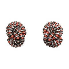 Francoise Montague Coral and Black Swarovski Crystal Clip Earrings