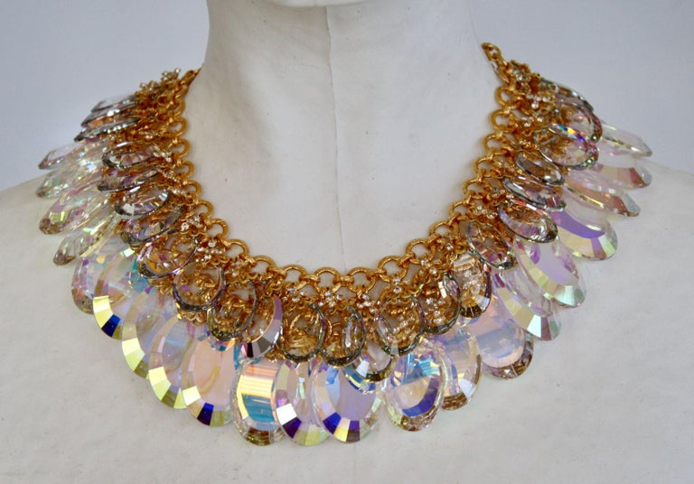 Vintage iridescent glass disc double row necklace on gorgeous vintage gold chain from Francoise Montague.