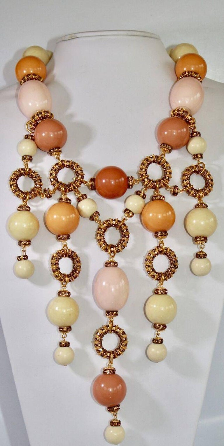 Galalith bead and Swarovski crystal rounds statement necklace from Francoise Montague. 20