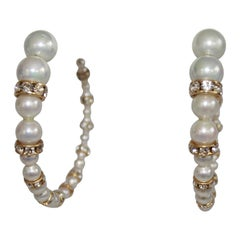 Francoise Montague Glass and Swarovski Crystal Pearl Hoop Earrings