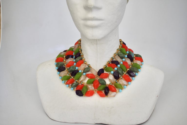 Multi color glass bead necklace strung with Swarovski crystal rondelles from Francoise Montague. Handmade in Paris.