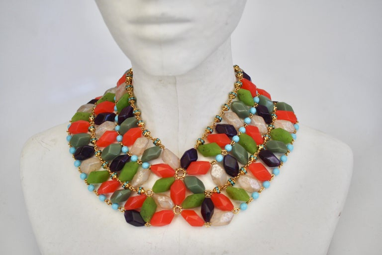 Francoise Montague Glass Cabochon Necklace In New Condition For Sale In Virginia Beach, VA