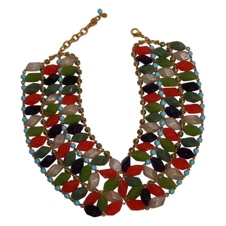 Francoise Montague Glass Cabochon Necklace For Sale