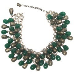 Francoise Montague Glass Cabochons and Rhodium Statement Necklace