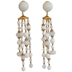 Francoise Montague Glass Duster Statement Clip Earrings