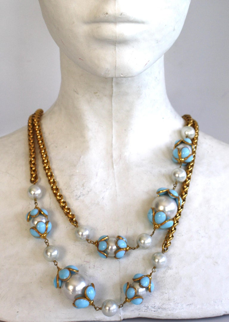 Vintage gold chain sautoir necklace with glass pearls and blue pate de verre glass flowers from Francoise Montague.