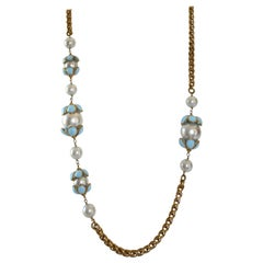 Francoise Montague Glass Pearl and Blue Pate de Verre Sautoir Necklace