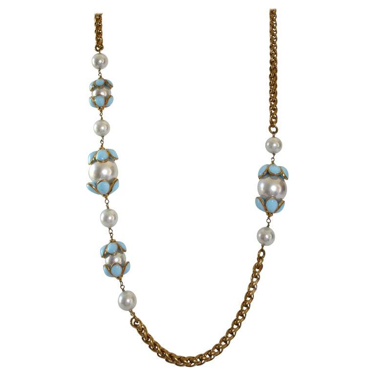 Francoise Montague Glass Pearl and Blue Pate de Verre Sautoir Necklace For Sale