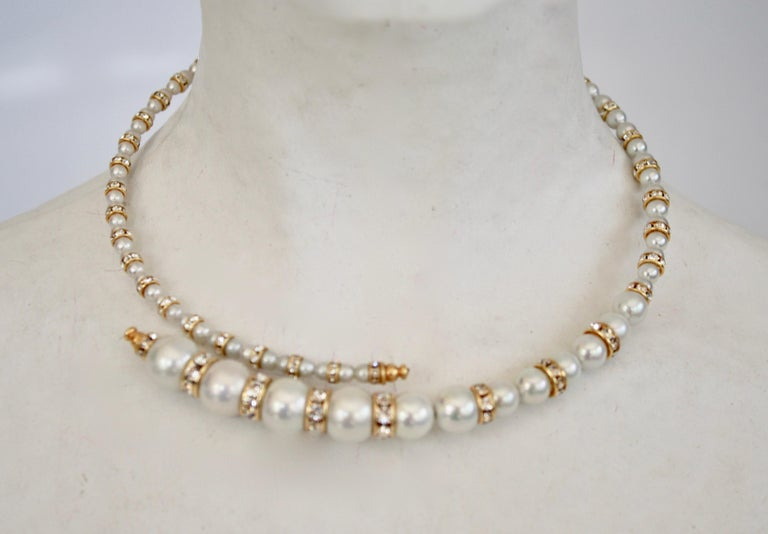 Memory wire overlapping necklace from Francoise Montague made with glass pearls and Swarovski crystals. French chic through and through.