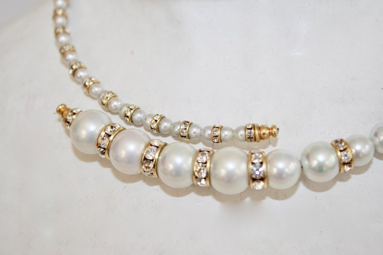Francoise Montague Glass Pearl and Swarovski Crystal Memory Wire Necklace In New Condition For Sale In Virginia Beach, VA