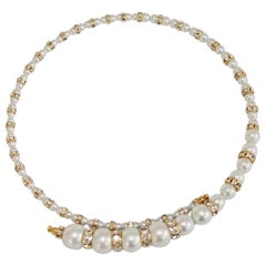 Francoise Montague Glass Pearl and Swarovski Crystal Memory Wire Necklace