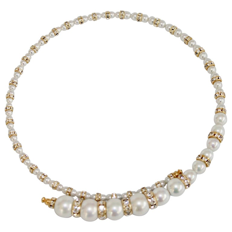 Francoise Montague Glass Pearl and Swarovski Crystal Memory Wire Necklace For Sale