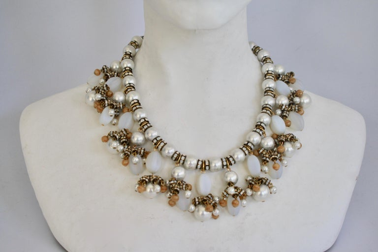 Elegant glass pearl and Swarovski crystal rondelle necklace with opaline and glass drops from Francoise Montague Paris.