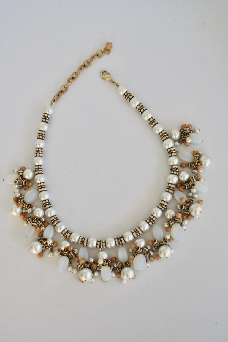 Francoise Montague Glass Pearl Fringe Necklace In New Condition For Sale In Virginia Beach, VA