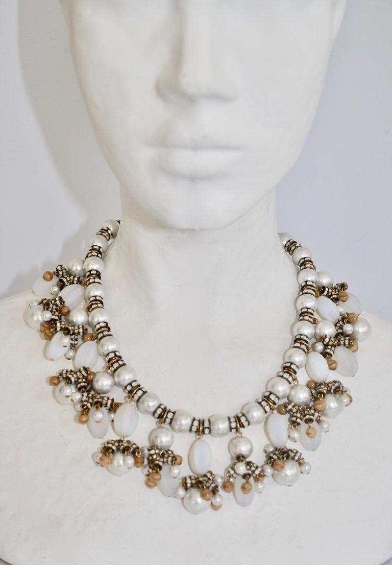 Women's Francoise Montague Glass Pearl Fringe Necklace For Sale
