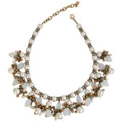 Francoise Montague Glass Pearl Fringe Necklace