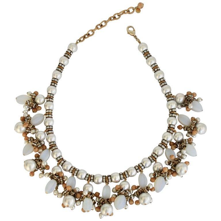 Francoise Montague Glass Pearl Fringe Necklace For Sale