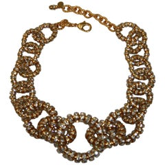Francoise Montague Gold and Crystal Link Choker Necklace