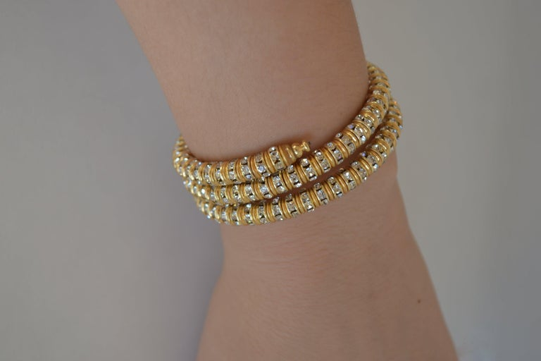 Women's Francoise Montague Gold and Crystal Mabrouk Wrap Bracelet For Sale