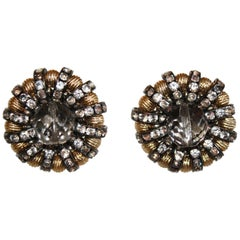 Francoise Montague Gold, Crystal and Glass Clip Earrings
