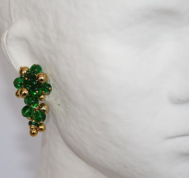 Women's Francoise Montague Green and Gold Grape Inspired Clips For Sale