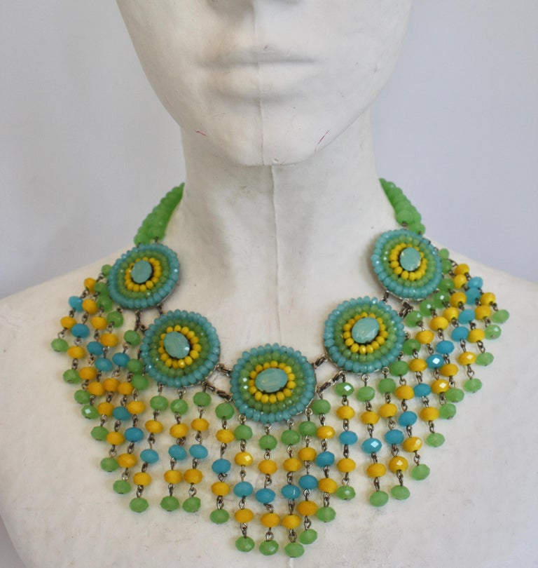 Multi-color tassel drop faceted glass necklace from Francoise Montague Paris.