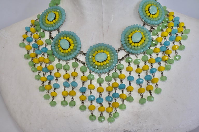 Francoise Montague Handmade Faceted Glass Statement Necklace In New Condition For Sale In Virginia Beach, VA