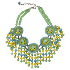 Francoise Montague Handmade Faceted Glass Statement Necklace