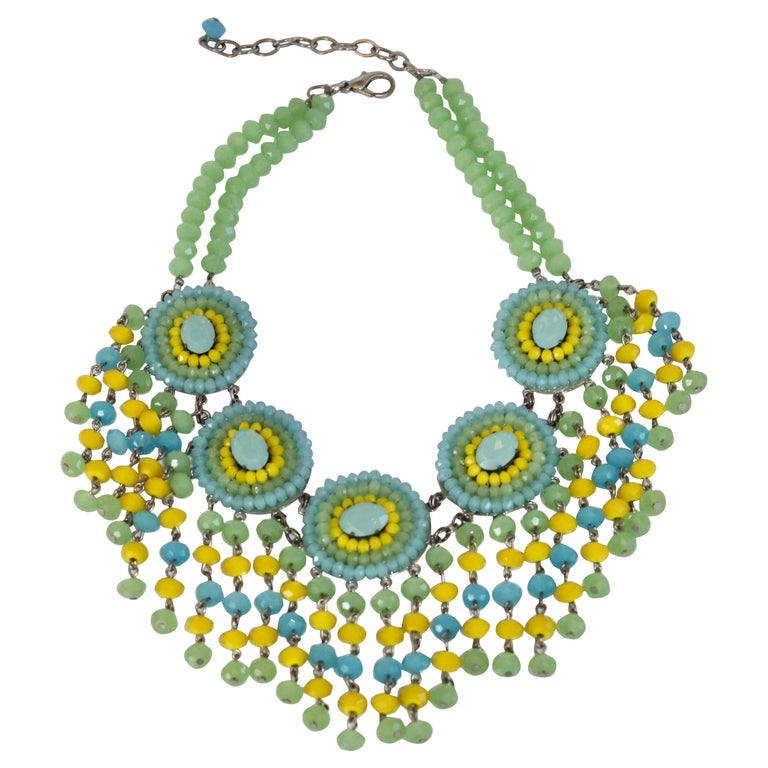 Francoise Montague Handmade Faceted Glass Statement Necklace For Sale