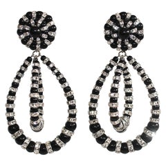 Francoise Montague Large Lolita Black and Crystal Clip Earrings