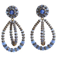 Francoise Montague Large Lolita Blue Glass and Crystal Clip Earrings