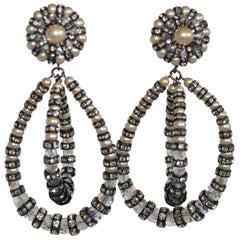 Francoise Montague Large Lolita Pearl and Crystal on Black Metal Clip Earrings