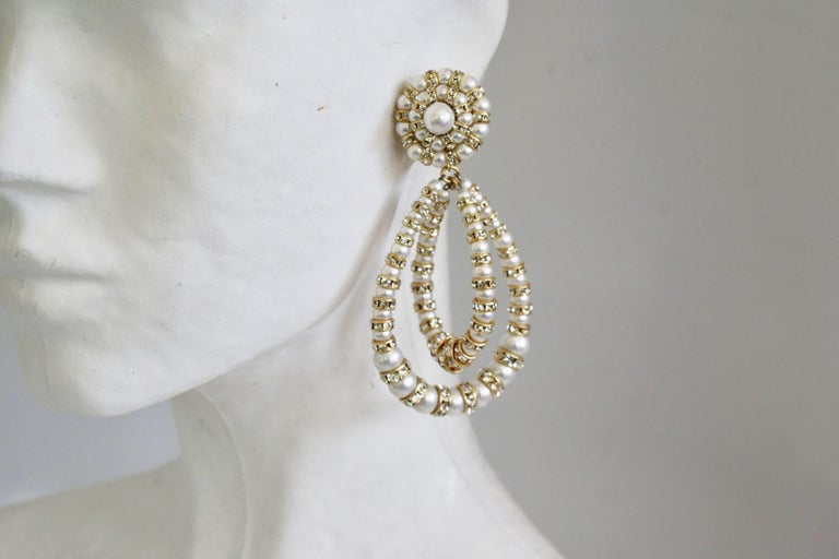 Francoise Montague Large Lolita Pearl and Crystal on Gold Clip Earrings For Sale 1