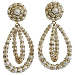 Francoise Montague Large Lolita Pearl and Crystal on Gold Clip Earrings