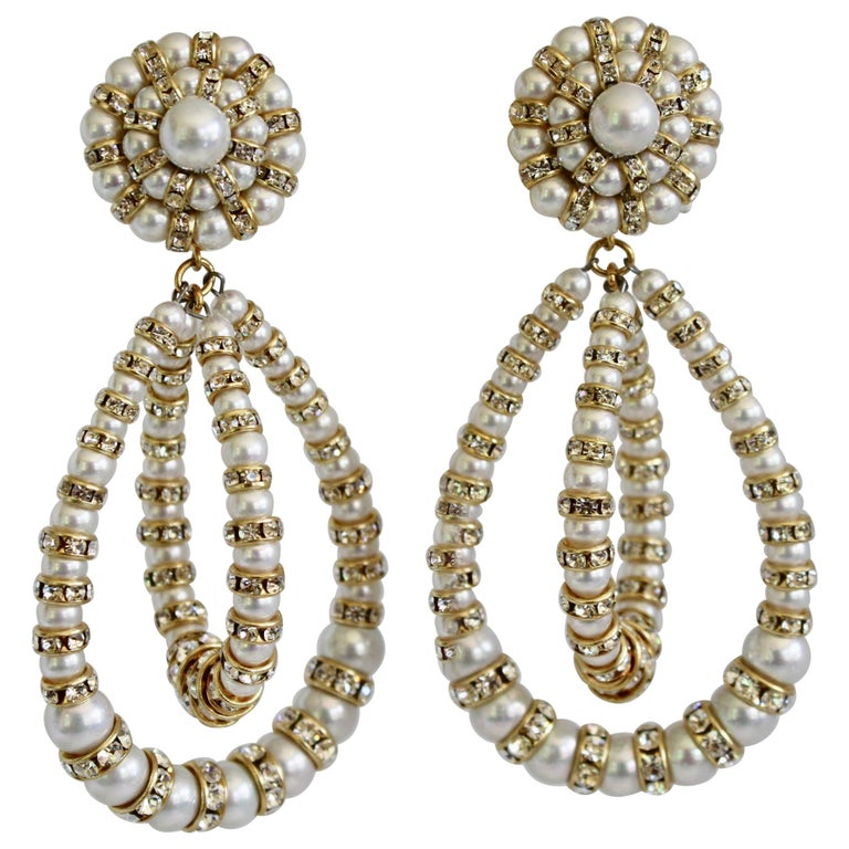 Francoise Montague Large Lolita Pearl and Crystal on Gold Clip Earrings For Sale