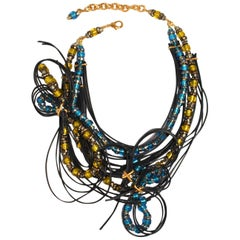 Francoise Montague Leather and Murano Glass Statement Necklace