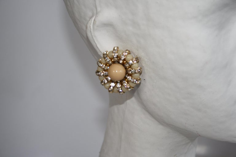 Swarovski crystal rondelles and handmade glass clip earrings from Francoise Montague.