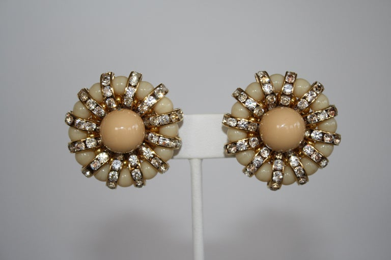 Women's Francoise Montague Pale Swarovski Crystal Rondelle and Glass Clip Earrings For Sale