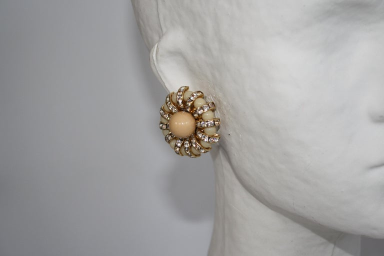 Francoise Montague Pale Swarovski Crystal Rondelle and Glass Clip Earrings For Sale 1