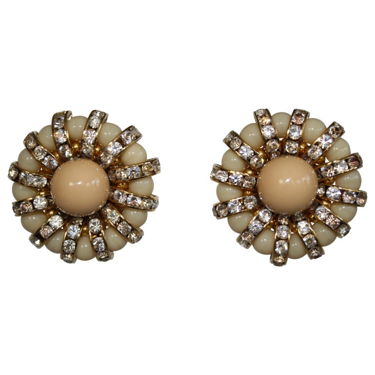 Francoise Montague Pale Swarovski Crystal Rondelle and Glass Clip Earrings For Sale